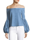 Gisele Off-the-Shoulder Blouse, Blue