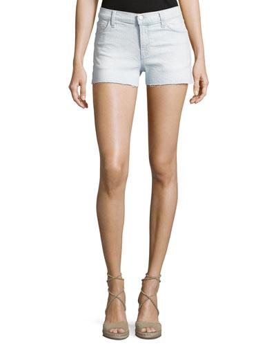 1044 Mid-Rise Denim Shorts, Light Blue
