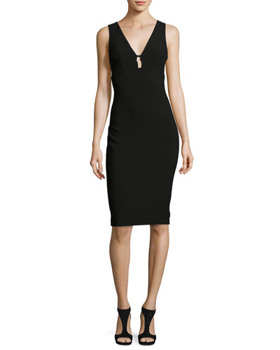 Albury Cutout Sleeveless Sheath Dress, Black