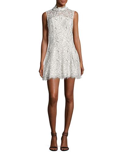 Catherine Mock-Neck Lace Mini Dress, White