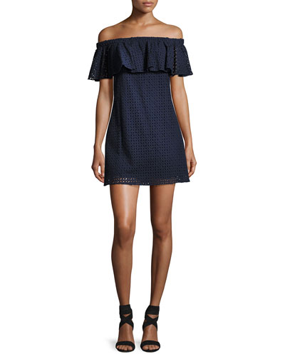 Cicero Off-the-Shoulder Eyelet Mini Dress, Blue