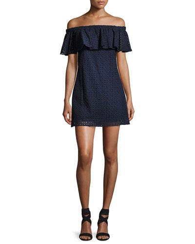 Cicero Off-the-Shoulder Eyelet Mini Dress, Blue