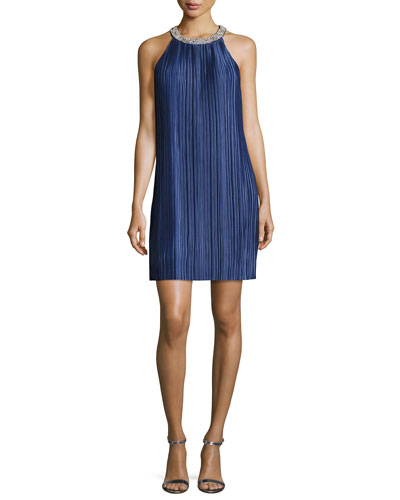 Sleeveless Plissé Jersey Embellished Cocktail Dress, Navy
