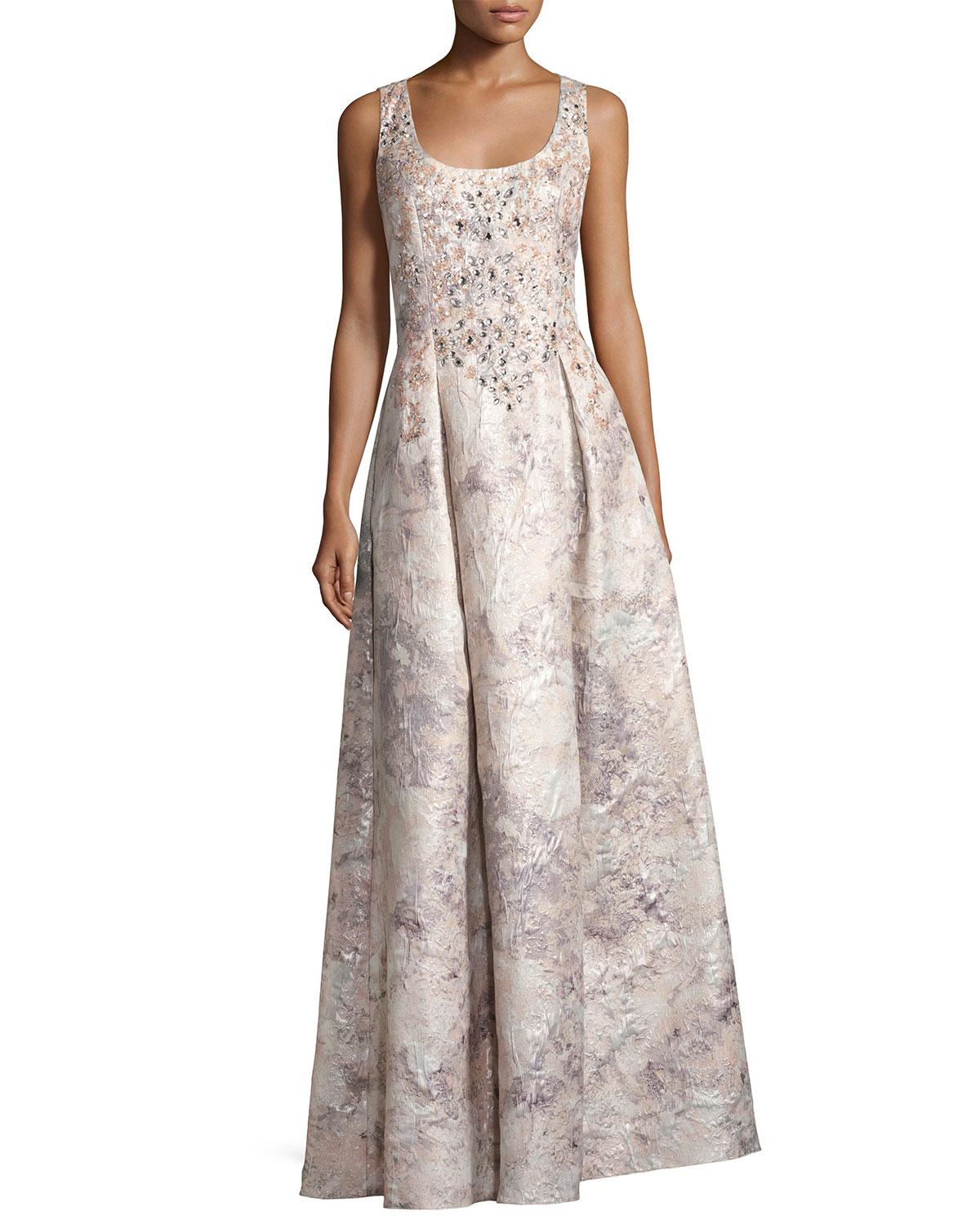 Sleeveless Beaded Floral Brocade Gown, Mink