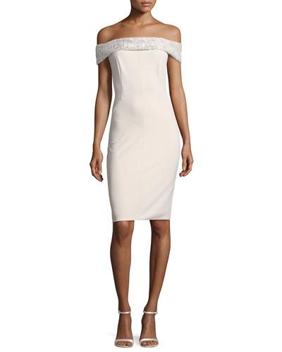 Sequin Off-the-Shoulder Jersey Cocktail Dress