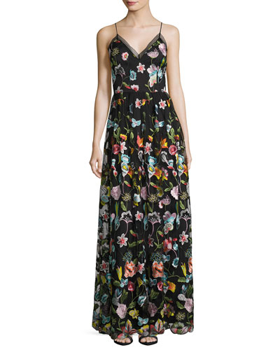 Sleeveless Embroidered Floral Chiffon Gown, Black