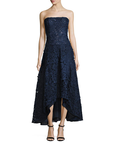 Bates Strapless Floral High-Low Gown, Navy