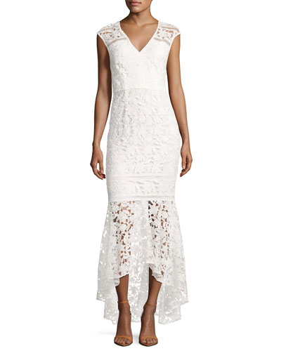 Evangelina Cap-Sleeve Floral Lace Gown, Optic White