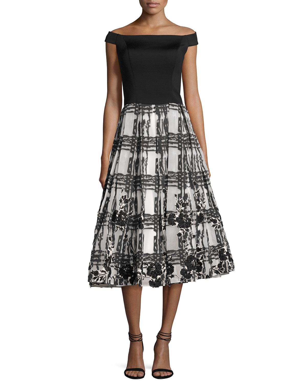 Off-the-Shoulder Satin & Chiffon Cocktail Dress, Black/White