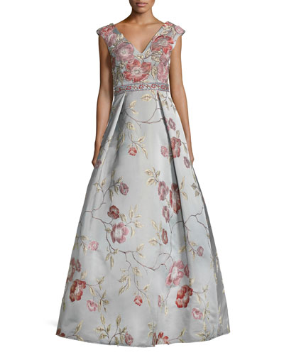 Sleeveless Floral Satin Ball Gown, Multicolor