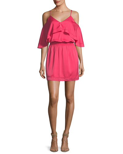 Colusa Cold-Shoulder Stretch Silk Ruffle Dress, Pink