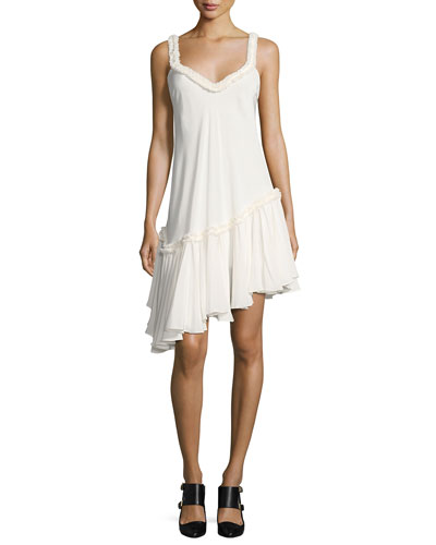 Castiel Asymmetric Ruffled Silk Dress, Ivory