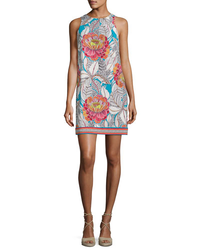 Macee Sleeveless Floral Jersey Shift Dress, Multicolor