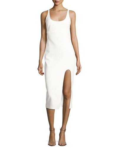 Breena Sleeveless High-Slit Midi Dress, Ivory