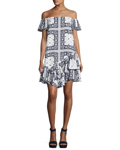 Minella Off-the-Shoulder Paisley Dress, Multi