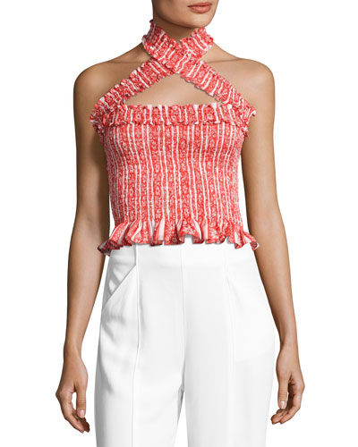Donya Crisscross Halter-Neck Crop Top, Multiprint