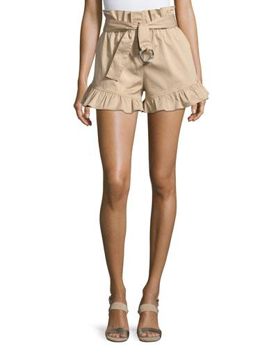 Braxton High-Waist Ruffled Shorts, Khaki