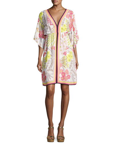 Tamarisk Floral Jersey Blouson Dress, Multicolor