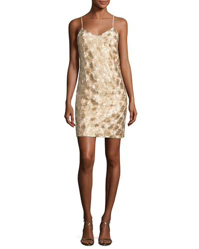 Highlight Sleeveless Metallic Cocktail Dress, Gold