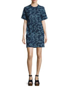 Esmond Laser-Cut Cotton Dress, Indigo