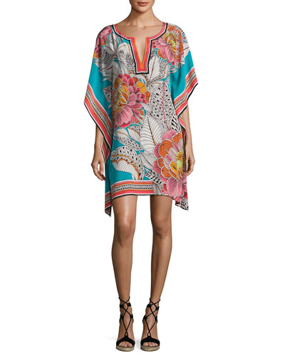 Theodora Floral Silk Satin Mini Dress, Multicolor