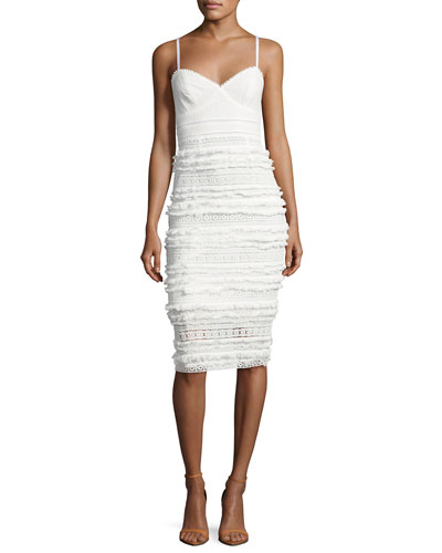 Stow Sleeveless Tiered Fringe & Lace Sheath Dress, White