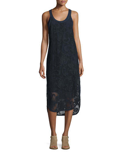 Stella Floral Laser-Cut Tank Dress, Navy