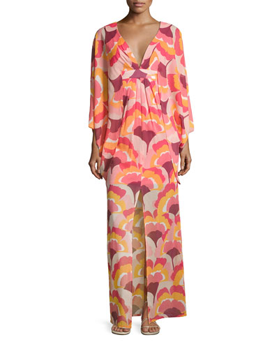 Blossom Floral Stretch Silk Maxi Dress, Multicolor