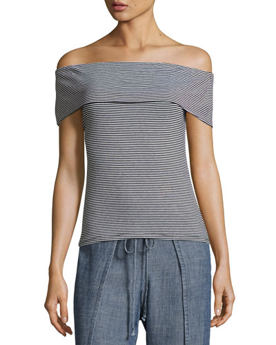 Prizma Off-the-Shoulder Striped Jersey Top, Black