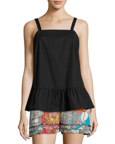 Lilibeth Sleeveless Stretch Poplin Peplum Top, Black