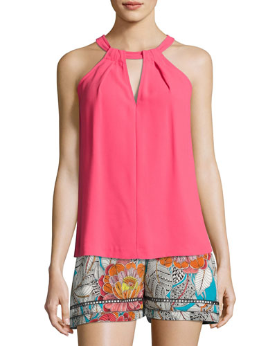 Quince Sleeveless Pleated Crepe Top, Pink