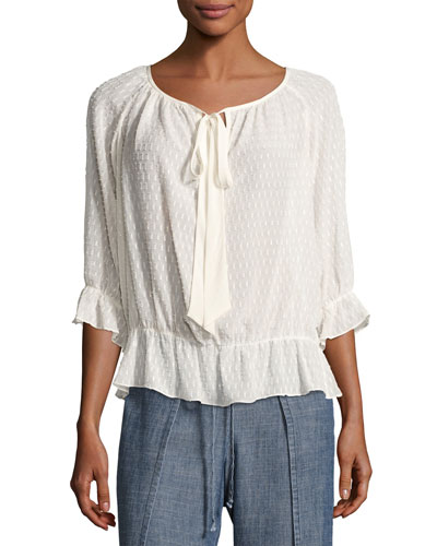 Baez 2 Jacquard Silk-Blend Top, White