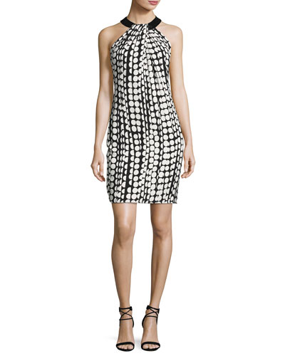 Sleeveless Printed Ponte Sheath Dress, Ivory/Black