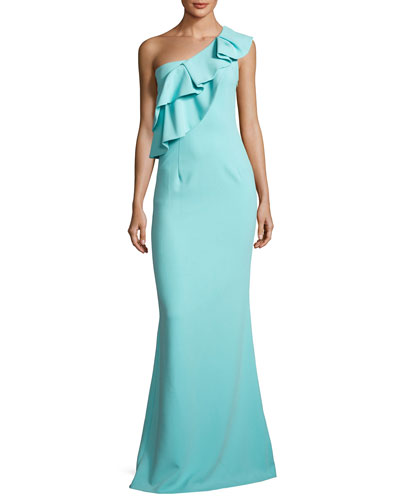 Manala One-Shoulder Tiered Ruffle Mermaid Gown, Atlantic Aqua