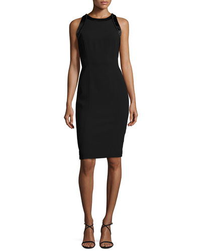 Sleeveless Cutout Crepe Cocktail Dress, Black