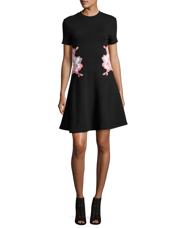 Floral Embroidered Short-Short Mini Dress, Black
