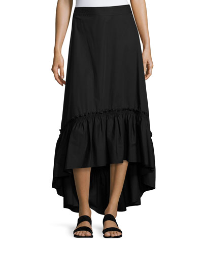 Rosamund Shirred High-Low Maxi Skirt, Black