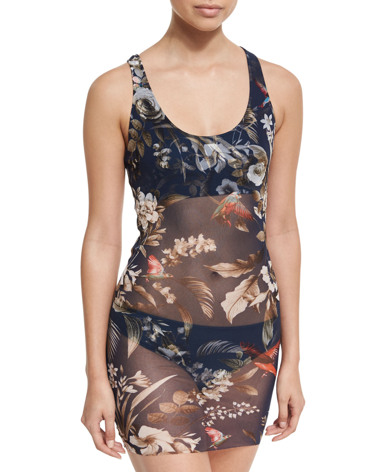 Fuzzi Floral-Print Two-Piece Tankini Swimsuit Blue