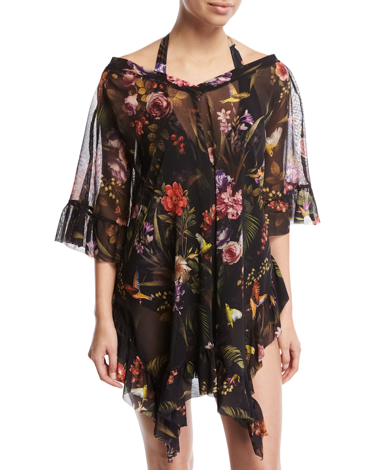 Fuzzi Floral Print Short-Sleeve Swim Coverup Black