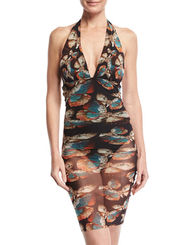 Butterfly-Print Tulle Overlay One-Piece Swimsuit, Black