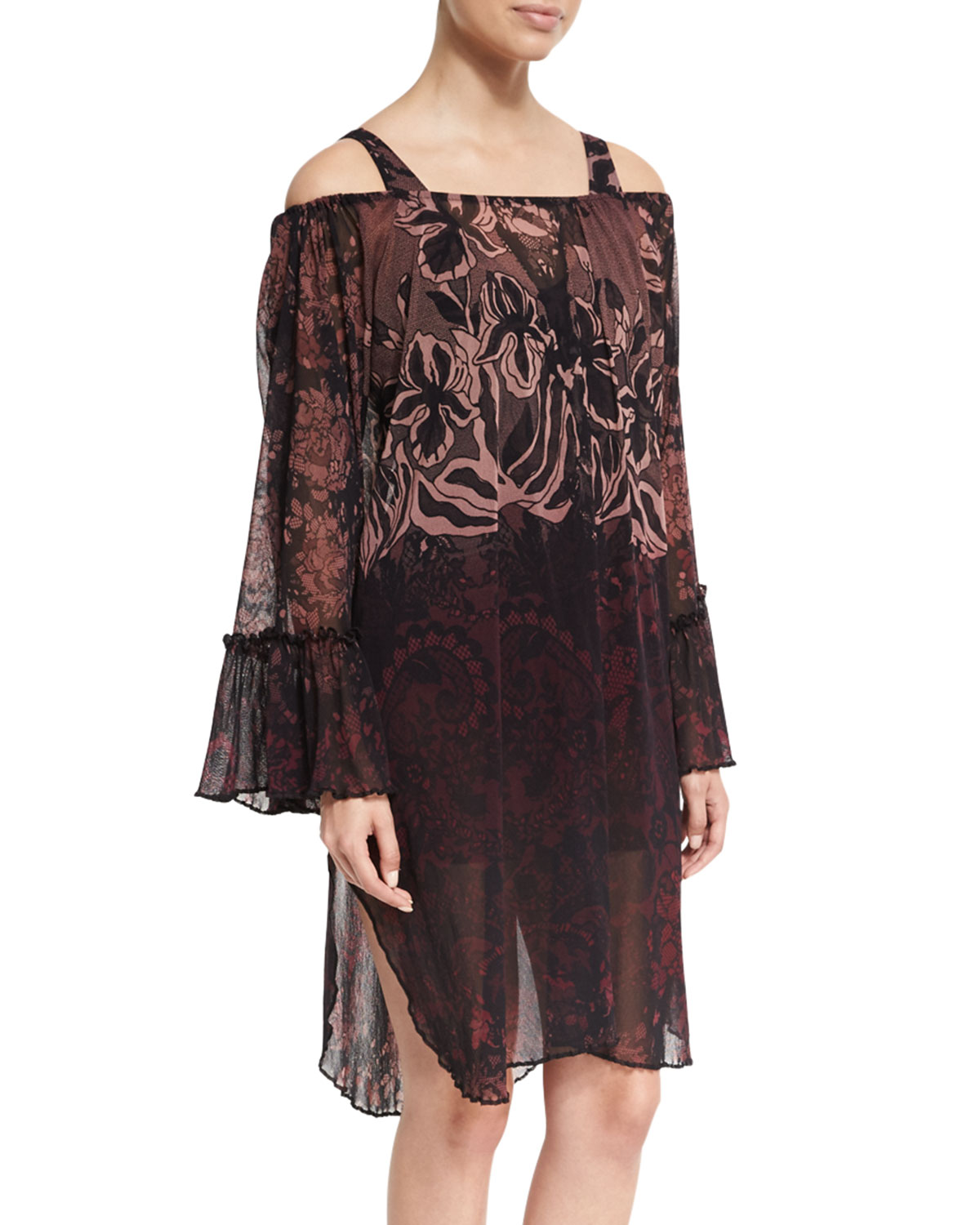 Fuzzi Floral Print Off-the-Shoulder Coverup Dress Black
