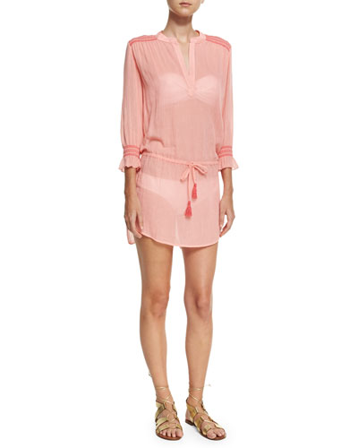 Capri Smocked Coverup Tunic, Pink