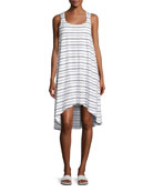 Nassau Striped Twist-Back Dress, White