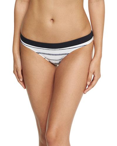 Nassau Striped Hipster Swim Bottom, White