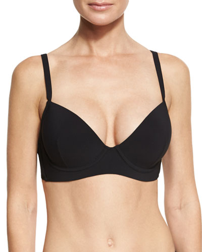Body Straight Strap Swim Top, Black (Available in D-G Cup)