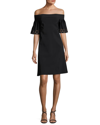 Amice Off-the-Shoulder Laser-Cut Jersey Cocktail Dress, Nero/Rose Quartz