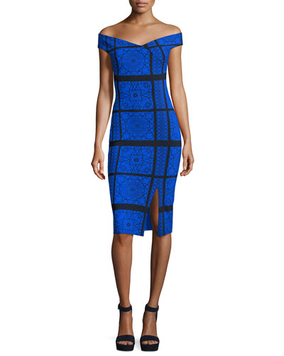Irene Geometric Off-the-Shoulder Cocktail Dress, Gothic Classic Cobalt