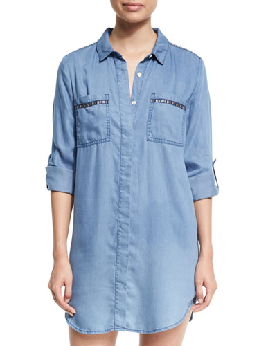 Embroidered Beach Tunic Shirt, Washed Chambray