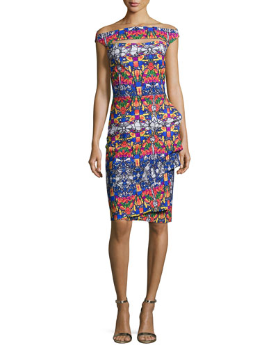 LA PETITE ROBE DI CHIARA BONI Off-The-Shoulder Printed Cutout Cocktail Dress in Liberty Glass