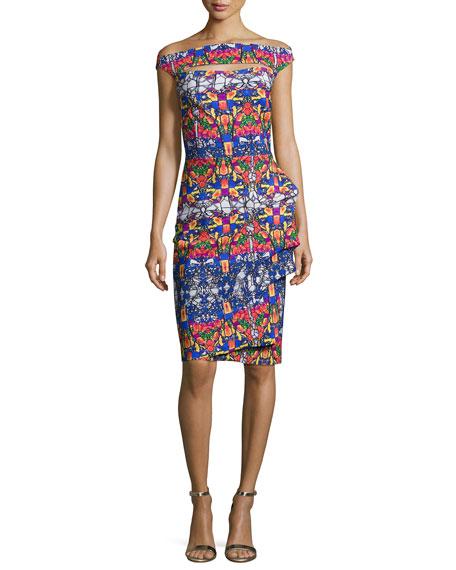 Chiara Boni La Petite Robe Off-the-Shoulder Printed Cutout Cocktail Dress